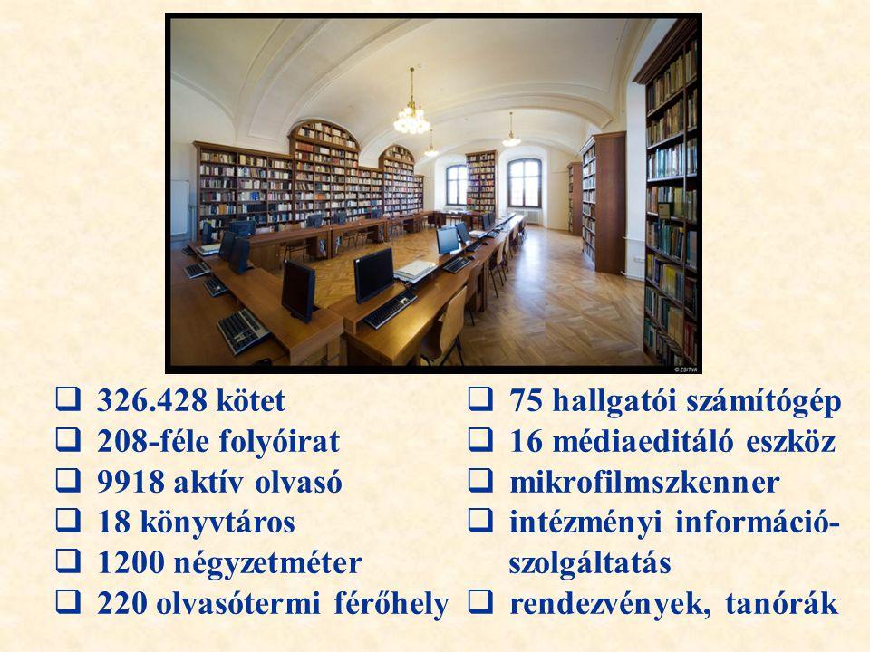  326.428 kötet  208-féle folyóirat  9918 aktív olvasó  18 könyvtáros  1200 négyzetméter  220 olvasótermi férőhely  75 hallgatói számítógép  16 médiaeditáló eszköz  mikrofilmszkenner  intézményi információ- szolgáltatás  rendezvények, tanórák