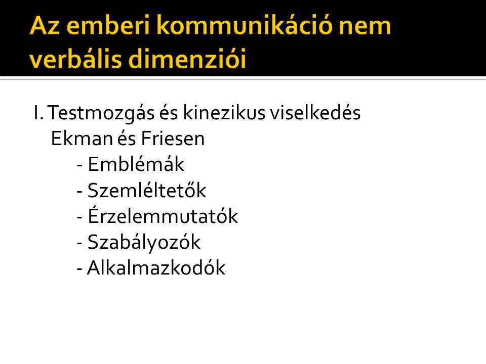 I. Testmozgás és kinezikus viselkedés Ekman és Friesen - Emblémák - Szemléltetők - Érzelemmutatók - Szabályozók - Alkalmazkodók