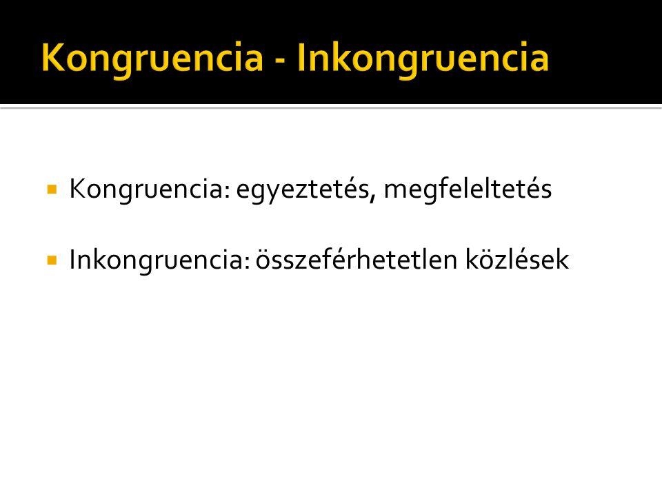  Kongruencia: egyeztetés, megfeleltetés  Inkongruencia: összeférhetetlen közlések