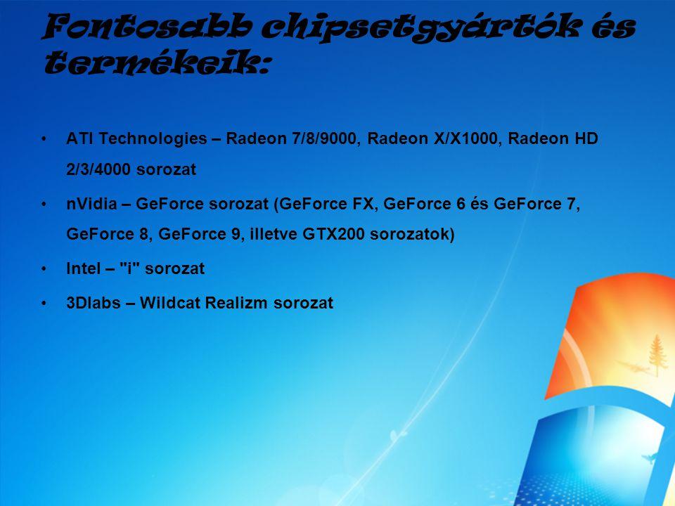 Fontosabb chipsetgyártók és termékeik: ATI Technologies – Radeon 7/8/9000, Radeon X/X1000, Radeon HD 2/3/4000 sorozat nVidia – GeForce sorozat (GeForc