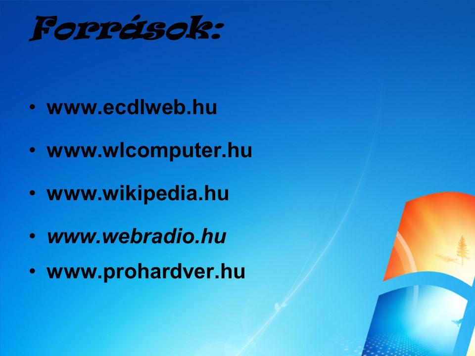 Források: www.ecdlweb.hu www.wlcomputer.hu www.wikipedia.hu www.webradio.hu www.prohardver.hu