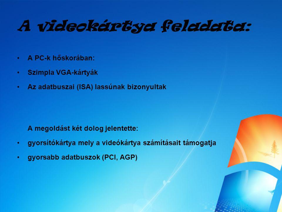 A videokártya feladata: A PC-k hőskorában: Szimpla VGA-kártyák Az adatbuszai (ISA) lassúnak bizonyultak A megoldást két dolog jelentette: gyorsítókárt