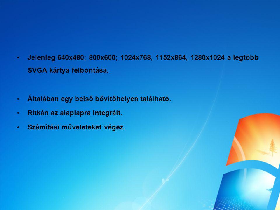 Jelenleg 640x480; 800x600; 1024x768, 1152x864, 1280x1024 a legtöbb SVGA kártya felbontása. Általában egy belső bővítőhelyen található. Ritkán az alapl