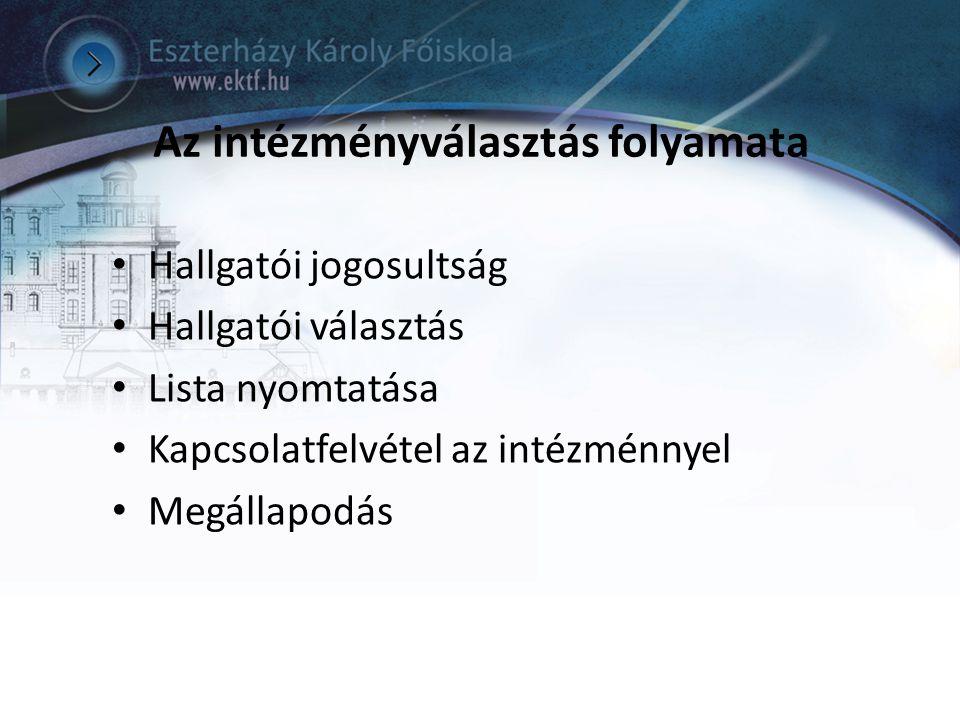 Az intézményválasztás folyamata Hallgatói jogosultság Hallgatói választás Lista nyomtatása Kapcsolatfelvétel az intézménnyel Megállapodás