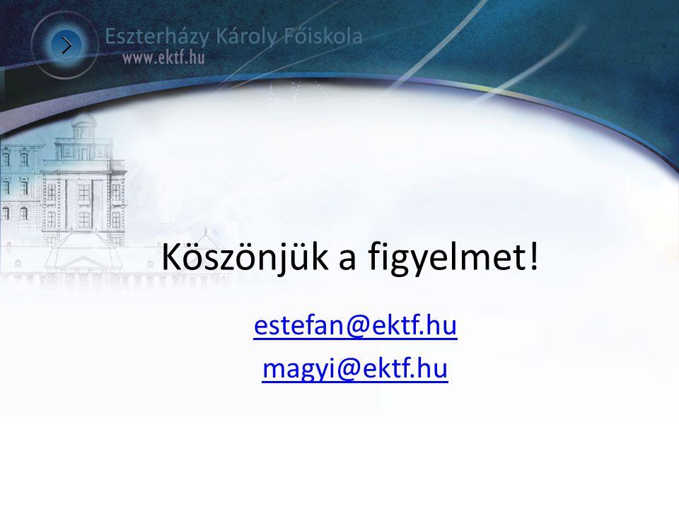 Köszönjük a figyelmet! estefan@ektf.hu magyi@ektf.hu