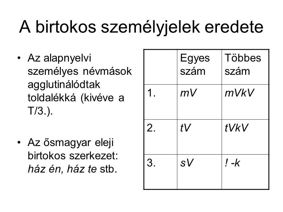 A birtokos személyjelek eredete Az alapnyelvi személyes névmások agglutinálódtak toldalékká (kivéve a T/3.). Az ősmagyar eleji birtokos szerkezet: ház