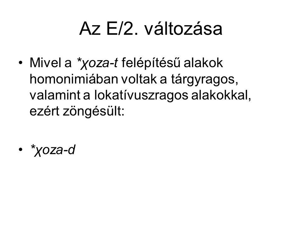 Az E/2. változása Mivel a *χoza-t felépítésű alakok homonimiában voltak a tárgyragos, valamint a lokatívuszragos alakokkal, ezért zöngésült: *χoza-d