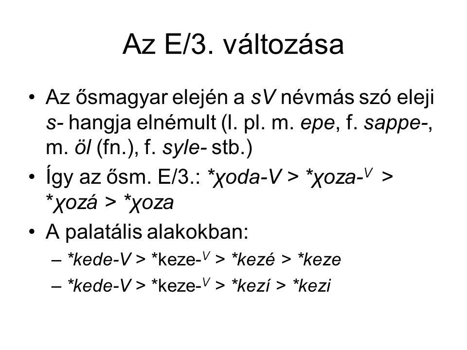 Az E/3. változása Az ősmagyar elején a sV névmás szó eleji s- hangja elnémult (l. pl. m. epe, f. sappe-, m. öl (fn.), f. syle- stb.) Így az ősm. E/3.: