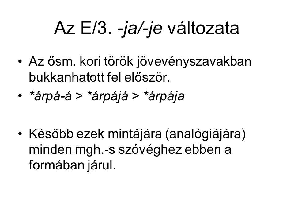 Az E/3. -ja/-je változata Az ősm. kori török jövevényszavakban bukkanhatott fel először. *árpá-á > *árpájá > *árpája Később ezek mintájára (analógiájá
