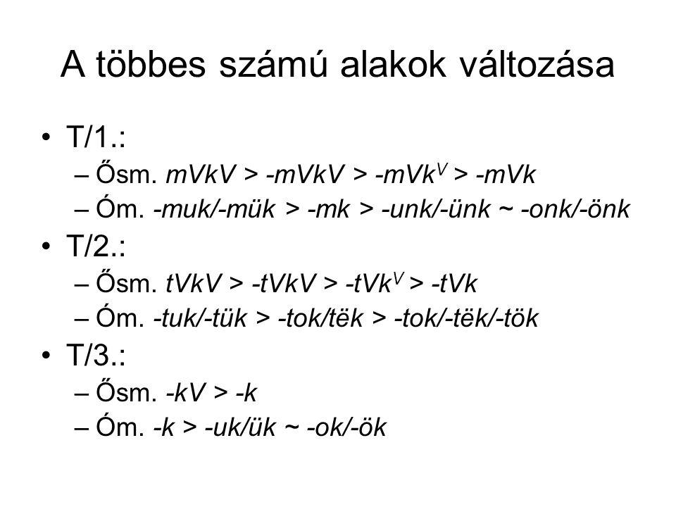 A többes számú alakok változása T/1.: –Ősm. mVkV > -mVkV > -mVk V > -mVk –Óm. -muk/-mük > -mk > -unk/-ünk ~ -onk/-önk T/2.: –Ősm. tVkV > -tVkV > -tVk