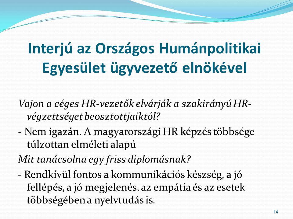 Interjú az Országos Humánpolitikai Egyesület ügyvezető elnökével Vajon a céges HR-vezetők elvárják a szakirányú HR- végzettséget beosztottjaiktól? - N