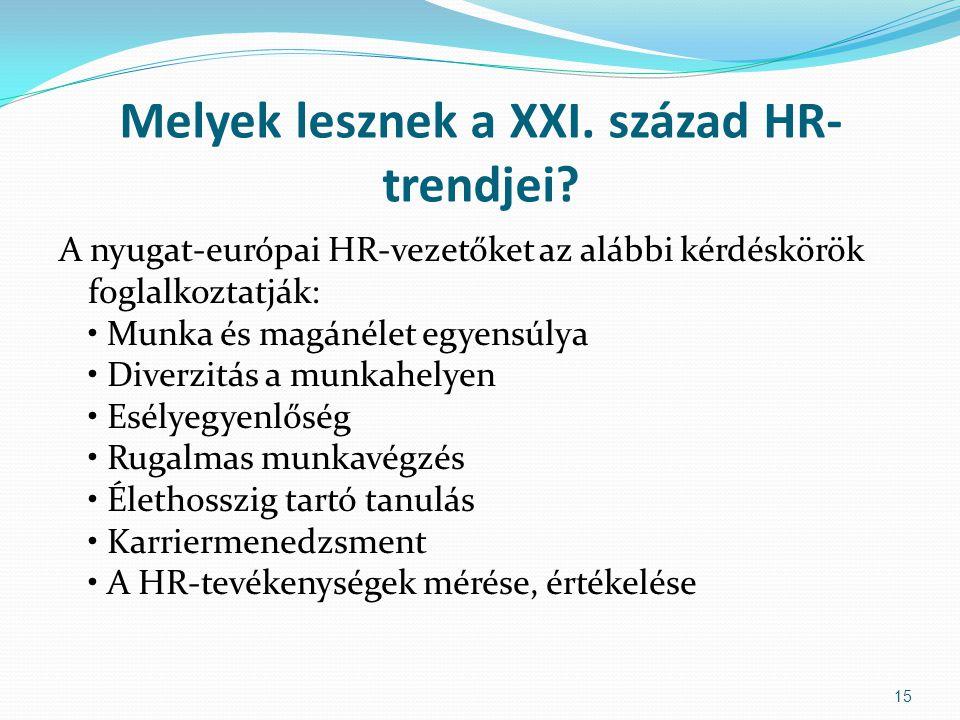 Melyek lesznek a XXI. század HR- trendjei? A nyugat-európai HR-vezetőket az alábbi kérdéskörök foglalkoztatják: Munka és magánélet egyensúlya Diverzit