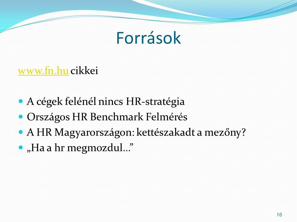 """Források www.fn.huwww.fn.hu cikkei A cégek felénél nincs HR-stratégia Országos HR Benchmark Felmérés A HR Magyarországon: kettészakadt a mezőny? """"Ha a"""
