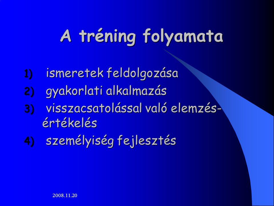 2008.11.20 A tréning folyamata 1) ismeretek feldolgozása 2) gyakorlati alkalmazás 3) visszacsatolással való elemzés- értékelés 4) személyiség fejleszt