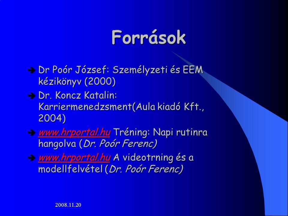 2008.11.20 Források  Dr Poór József: Személyzeti és EEM kézikönyv (2000)  Dr. Koncz Katalin: Karriermenedzsment(Aula kiadó Kft., 2004)  www.hrporta