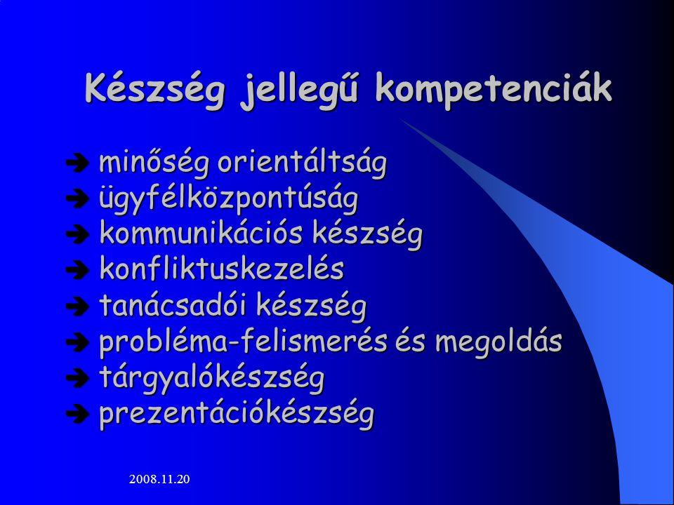 2008.11.20 Készség jellegű kompetenciák  minőség orientáltság  ügyfélközpontúság  kommunikációs készség  konfliktuskezelés  tanácsadói készség  probléma-felismerés és megoldás  tárgyalókészség  prezentációkészség