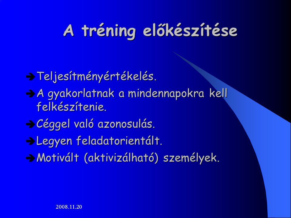 2008.11.20 A tréning előkészítése  Teljesítményértékelés.  A gyakorlatnak a mindennapokra kell felkészítenie.  Céggel való azonosulás.  Legyen fel