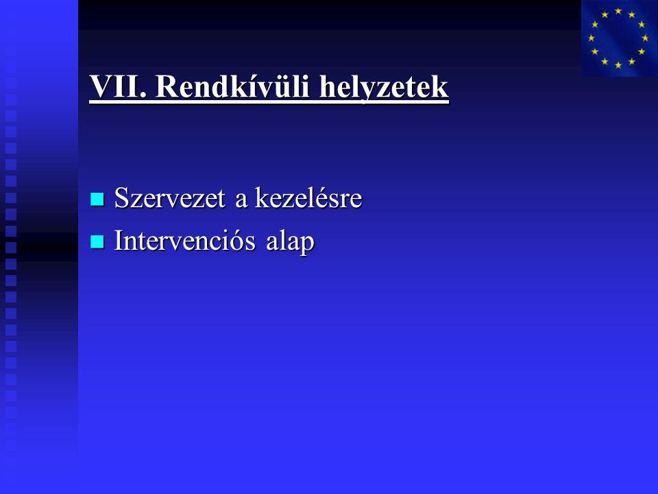 VII. Rendkívüli helyzetek Szervezet a kezelésre Szervezet a kezelésre Intervenciós alap Intervenciós alap