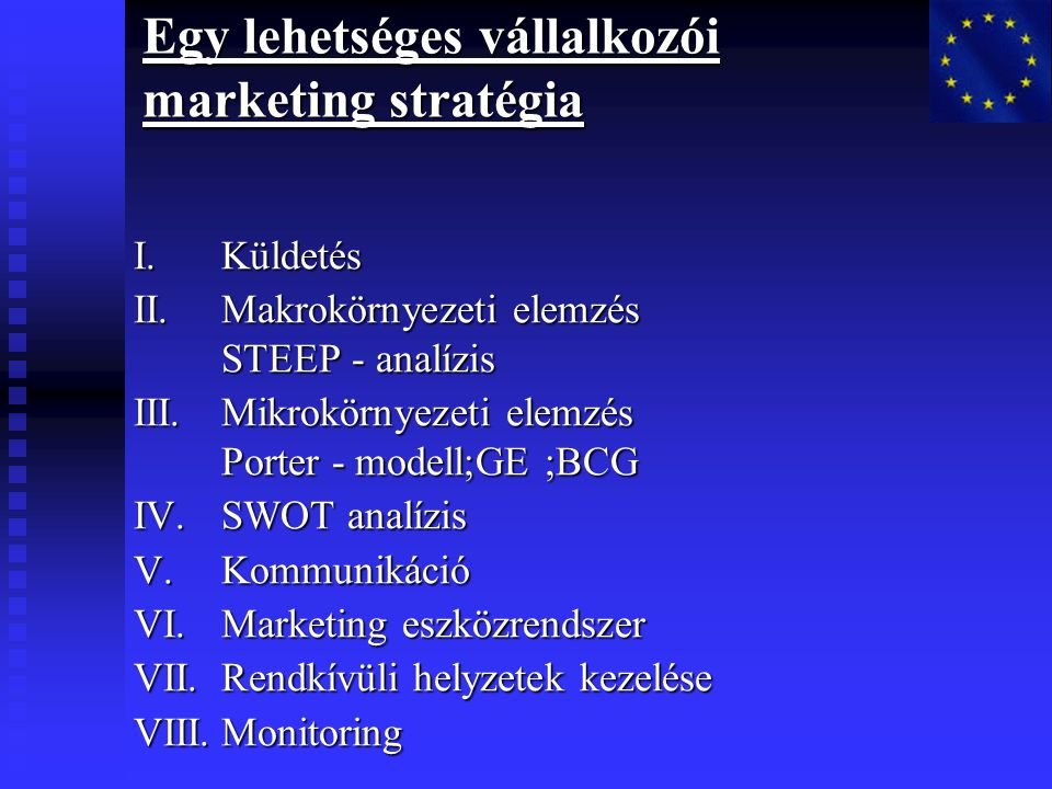 Egy lehetséges vállalkozói marketing stratégia I.Küldetés II.Makrokörnyezeti elemzés STEEP - analízis III.Mikrokörnyezeti elemzés Porter - modell;GE ;BCG IV.SWOT analízis V.Kommunikáció VI.Marketing eszközrendszer VII.Rendkívüli helyzetek kezelése VIII.Monitoring