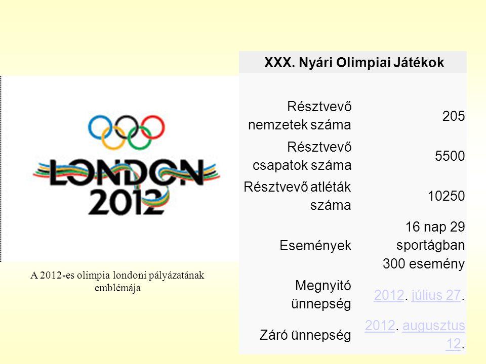 XXX. Nyári Olimpiai Játékok Résztvevő nemzetek száma 205 Résztvevő csapatok száma 5500 Résztvevő atléták száma 10250 Események 16 nap 29 sportágban 30