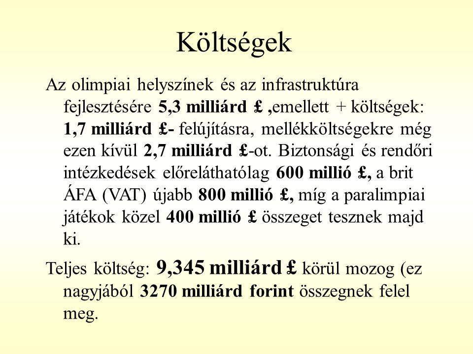 Költségek Az olimpiai helyszínek és az infrastruktúra fejlesztésére 5,3 milliárd £,emellett + költségek: 1,7 milliárd £- felújításra, mellékköltségekr