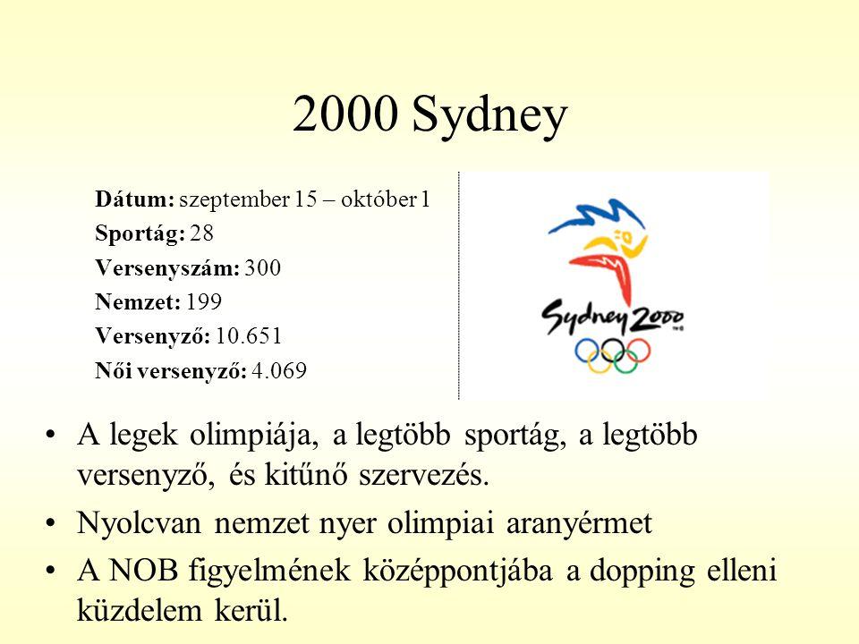 2000 Sydney Dátum: szeptember 15 – október 1 Sportág: 28 Versenyszám: 300 Nemzet: 199 Versenyző: 10.651 Női versenyző: 4.069 A legek olimpiája, a legt