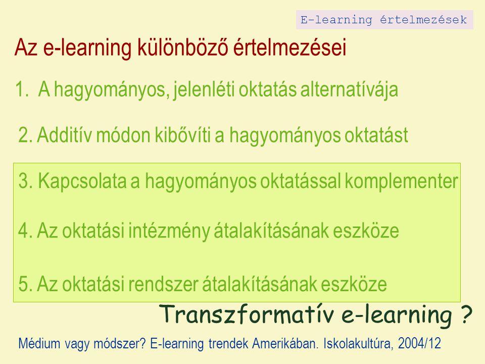 Az e-learning különböző értelmezései 1. A hagyományos, jelenléti oktatás alternatívája 2. Additív módon kibővíti a hagyományos oktatást 3. Kapcsolata