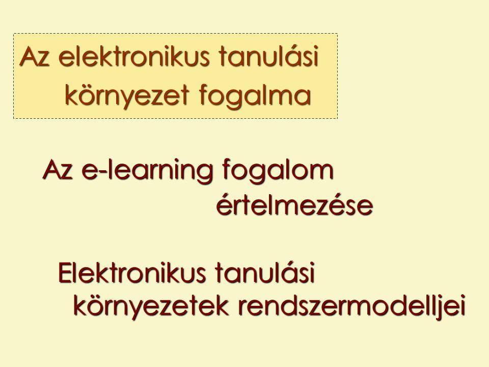 Az elektronikus tanulási környezet fogalma Az e-learning fogalom értelmezése Elektronikus tanulási környezetek rendszermodelljei