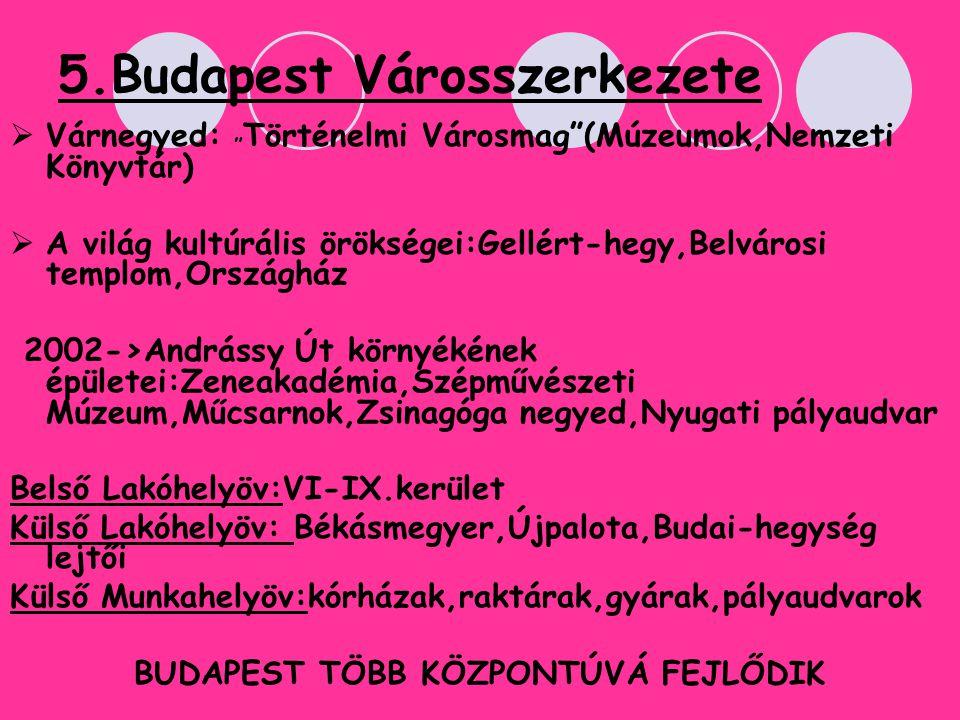 """5.Budapest Városszerkezete VVárnegyed: """" Történelmi Városmag""""(Múzeumok,Nemzeti Könyvtár) AA világ kultúrális örökségei:Gellért-hegy,Belvárosi temp"""