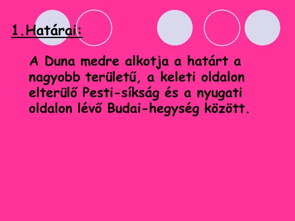 1.Határai: A Duna medre alkotja a határt a nagyobb területű, a keleti oldalon elterülő Pesti-síkság és a nyugati oldalon lévő Budai-hegység között.