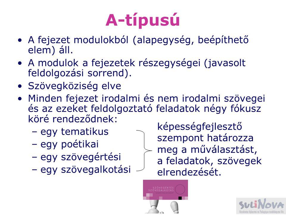 A-típusú A fejezet modulokból (alapegység, beépíthető elem) áll. A modulok a fejezetek részegységei (javasolt feldolgozási sorrend). Szövegköziség elv