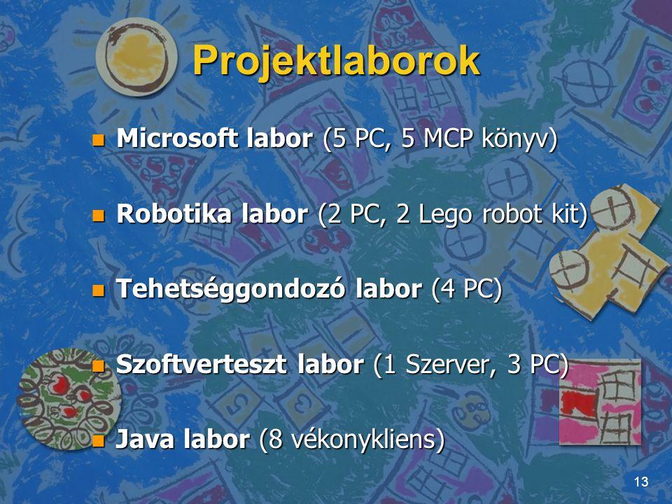 Projektlaborok n Microsoft labor (5 PC, 5 MCP könyv) n Robotika labor (2 PC, 2 Lego robot kit) n Tehetséggondozó labor (4 PC) n Szoftverteszt labor (1