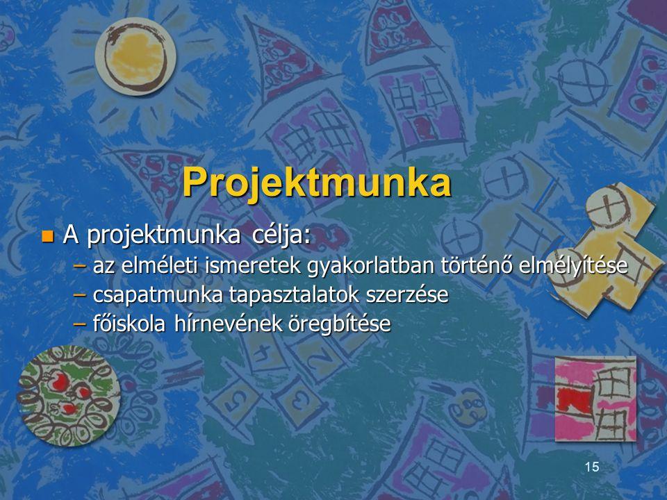 Projektmunka n A projektmunka célja: – az elméleti ismeretek gyakorlatban történő elmélyítése – csapatmunka tapasztalatok szerzése – főiskola hírnevén