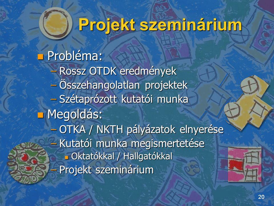 Projekt szeminárium n Probléma: –Rossz OTDK eredmények –Összehangolatlan projektek –Szétaprózott kutatói munka n Megoldás: –OTKA / NKTH pályázatok eln