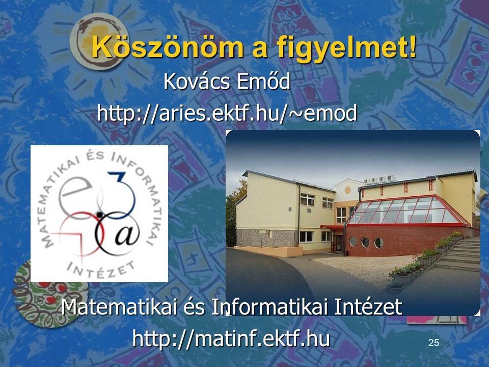 Köszönöm a figyelmet! Kovács Emőd http://aries.ektf.hu/~emod Matematikai és Informatikai Intézet http://matinf.ektf.hu 25