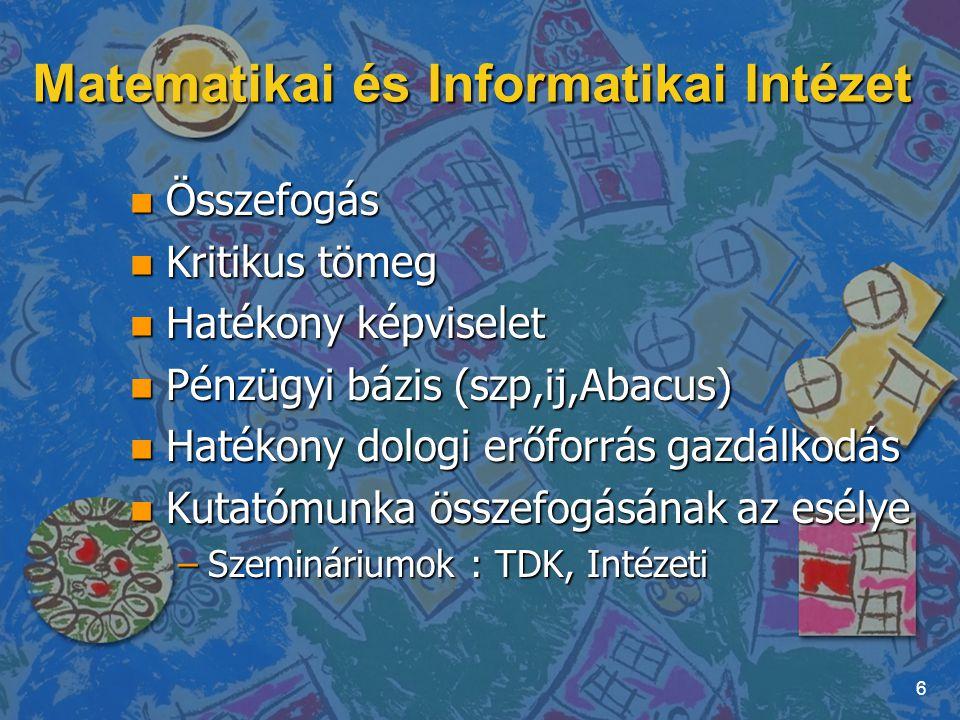 """Matematikai és Informatikai Intézet n Szép környezet –Bojár Gábor : kutatás-fejlesztéssel foglakozó cég esetben a munkakörnyezet minimum egyenrangú motivációs tényező a versenyképes fizetéssel –könyvtár, projekt szobák, csocsó asztal, kávé- és vízautomata, bútorozás saját bevételből n Intézményi rendezvények n IT cég részlegének a """"beköltöztetése az intézetbe 7"""