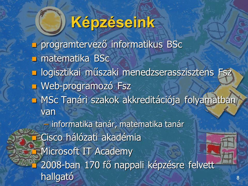 Képzéseink n programtervező informatikus BSc n matematika BSc n logisztikai műszaki menedzserasszisztens Fsz n Web-programozó Fsz n MSc Tanári szakok
