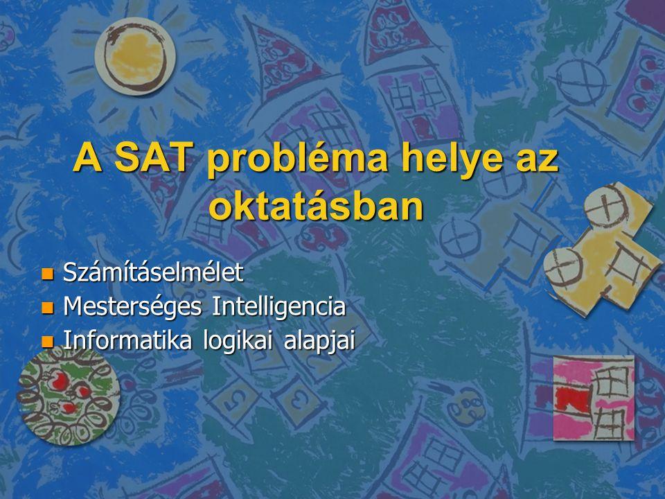 A SAT probléma helye az oktatásban n Számításelmélet n Mesterséges Intelligencia n Informatika logikai alapjai