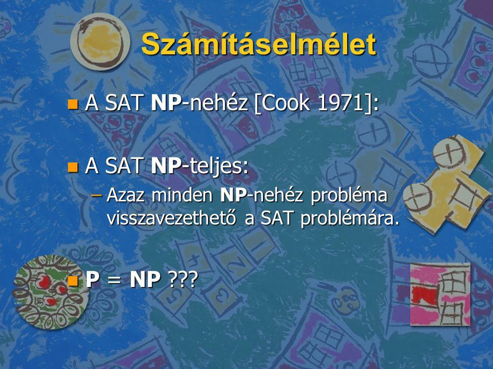 Számításelmélet n A SAT NP-nehéz [Cook 1971]: n A SAT NP-teljes: –Azaz minden NP-nehéz probléma visszavezethető a SAT problémára.