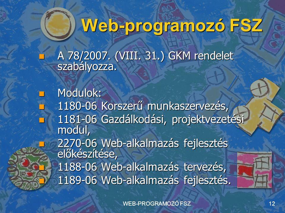 WEB-PROGRAMOZÓ FSZ12 Web-programozó FSZ n A 78/2007. (VIII. 31.) GKM rendelet szabályozza. n Modulok: n 1180-06 Korszerű munkaszervezés, n 1181-06 Gaz