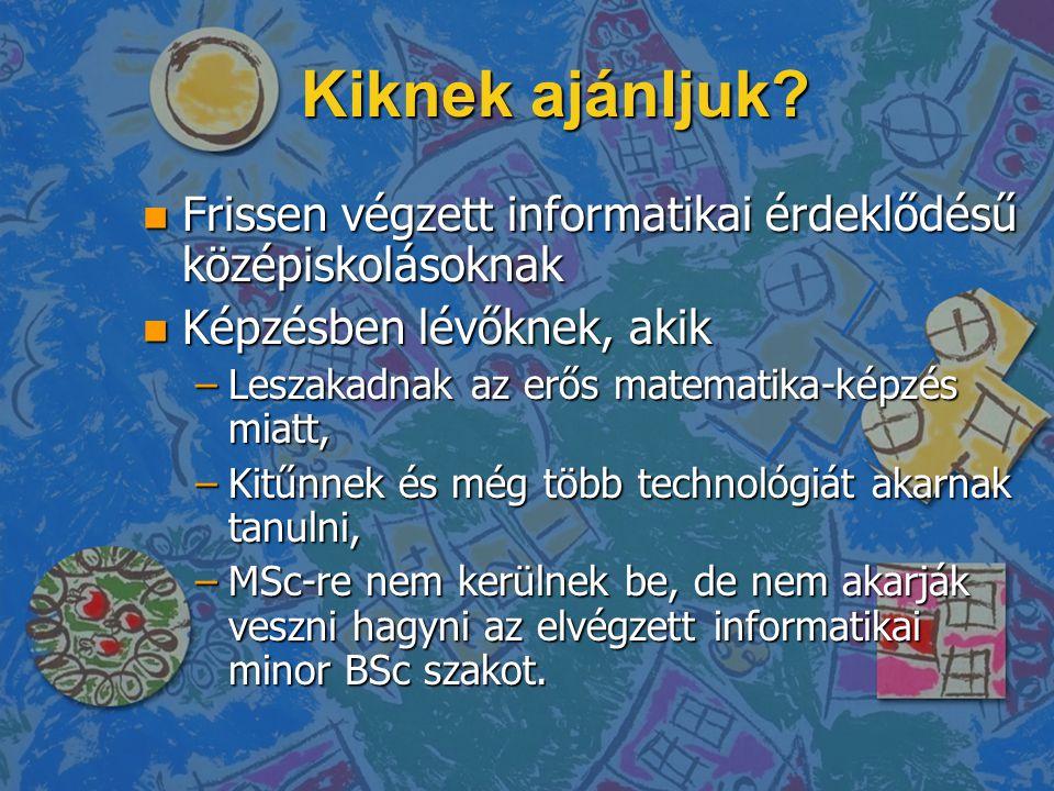 Kiknek ajánljuk? n Frissen végzett informatikai érdeklődésű középiskolásoknak n Képzésben lévőknek, akik –Leszakadnak az erős matematika-képzés miatt,