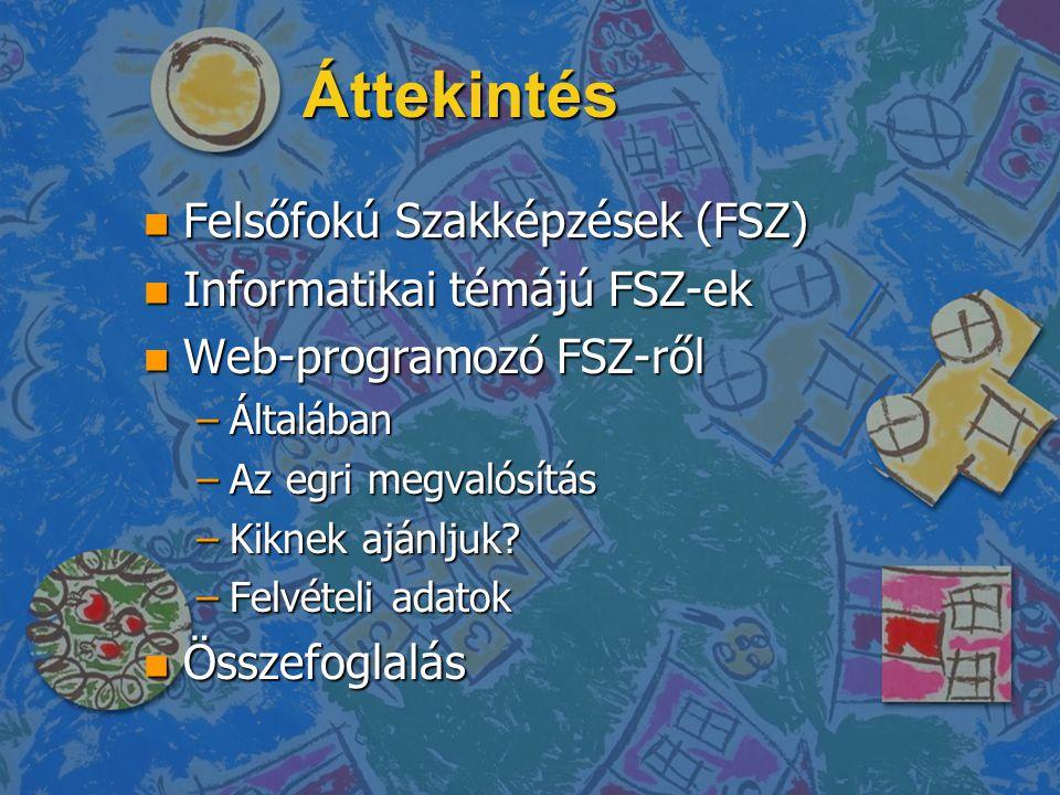 Áttekintés n Felsőfokú Szakképzések (FSZ) n Informatikai témájú FSZ-ek n Web-programozó FSZ-ről –Általában –Az egri megvalósítás –Kiknek ajánljuk? –Fe