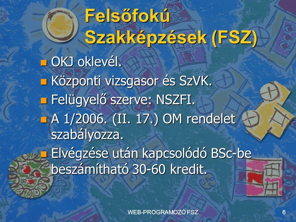 WEB-PROGRAMOZÓ FSZ6 Felsőfokú Szakképzések (FSZ) n OKJ oklevél. n Központi vizsgasor és SzVK. n Felügyelő szerve: NSZFI. n A 1/2006. (II. 17.) OM rend