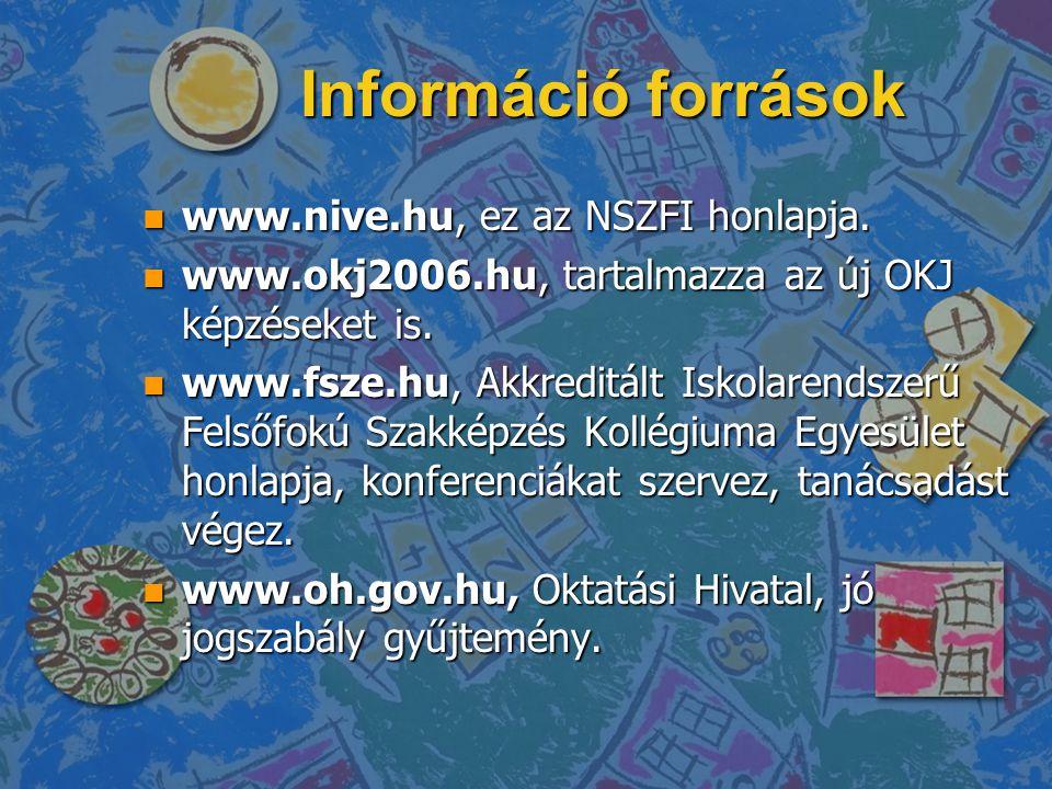 Információ források n www.nive.hu, ez az NSZFI honlapja. n www.okj2006.hu, tartalmazza az új OKJ képzéseket is. n www.fsze.hu, Akkreditált Iskolarends