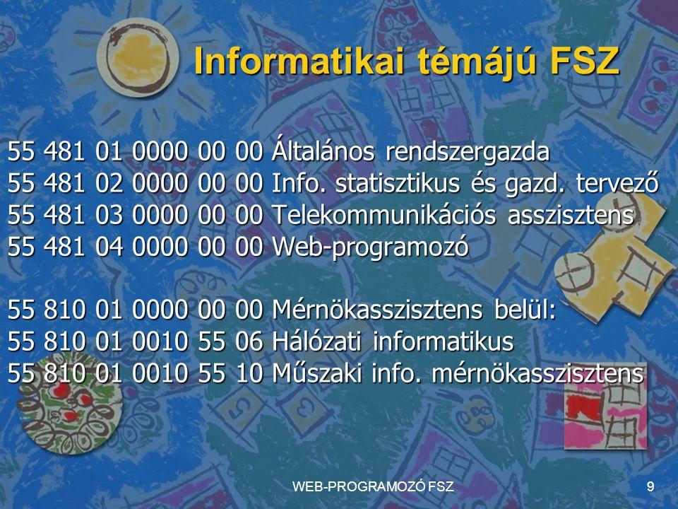 WEB-PROGRAMOZÓ FSZ9 55 481 01 0000 00 00 Általános rendszergazda 55 481 02 0000 00 00 Info. statisztikus és gazd. tervező 55 481 03 0000 00 00 Telekom