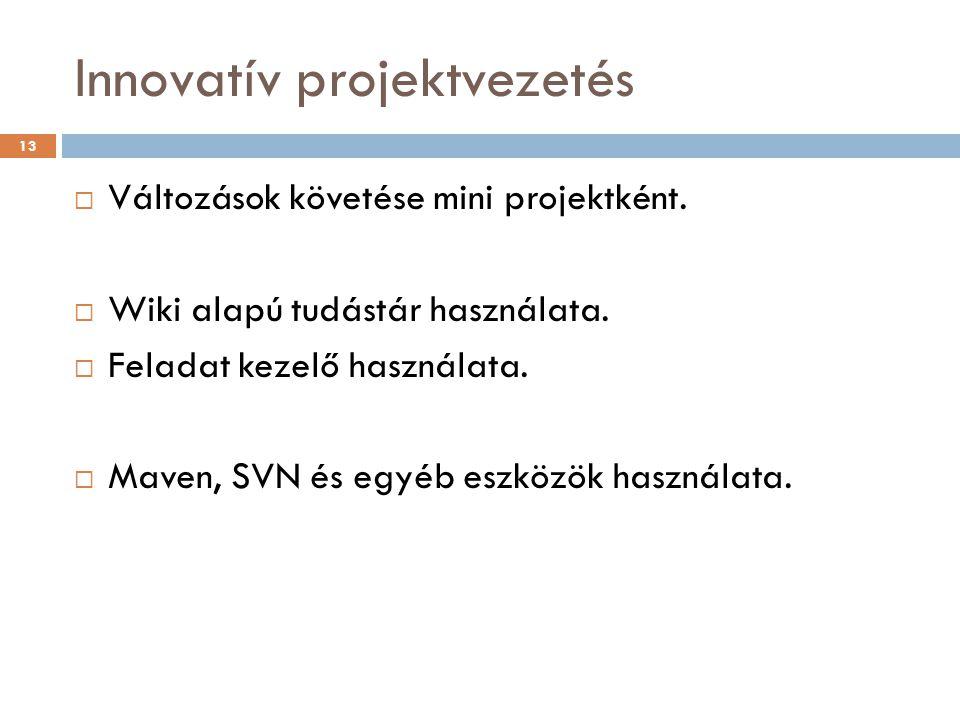 Innovatív projektvezetés  Változások követése mini projektként.  Wiki alapú tudástár használata.  Feladat kezelő használata.  Maven, SVN és egyéb