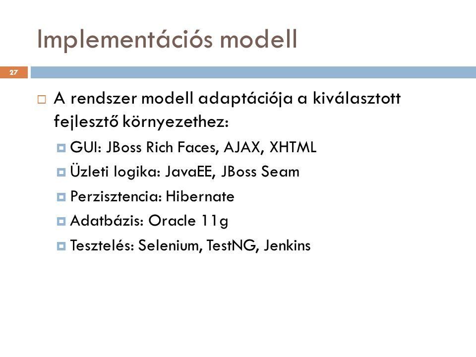 Implementációs modell  A rendszer modell adaptációja a kiválasztott fejlesztő környezethez:  GUI: JBoss Rich Faces, AJAX, XHTML  Üzleti logika: Jav