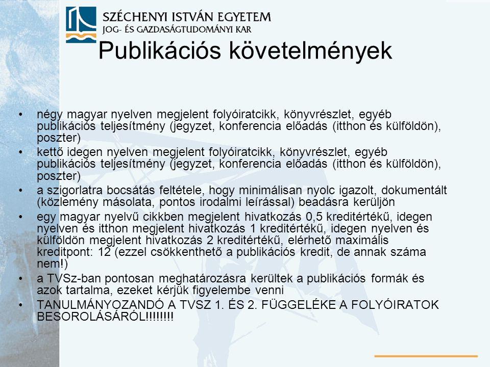 Publikációs követelmények négy magyar nyelven megjelent folyóiratcikk, könyvrészlet, egyéb publikációs teljesítmény (jegyzet, konferencia előadás (itthon és külföldön), poszter) kettő idegen nyelven megjelent folyóiratcikk, könyvrészlet, egyéb publikációs teljesítmény (jegyzet, konferencia előadás (itthon és külföldön), poszter) a szigorlatra bocsátás feltétele, hogy minimálisan nyolc igazolt, dokumentált (közlemény másolata, pontos irodalmi leírással) beadásra kerüljön egy magyar nyelvű cikkben megjelent hivatkozás 0,5 kreditértékű, idegen nyelven és itthon megjelent hivatkozás 1 kreditértékű, idegen nyelven és külföldön megjelent hivatkozás 2 kreditértékű, elérhető maximális kreditpont: 12 (ezzel csökkenthető a publikációs kredit, de annak száma nem!) a TVSz-ban pontosan meghatározásra kerültek a publikációs formák és azok tartalma, ezeket kérjük figyelembe venni TANULMÁNYOZANDÓ A TVSZ 1.