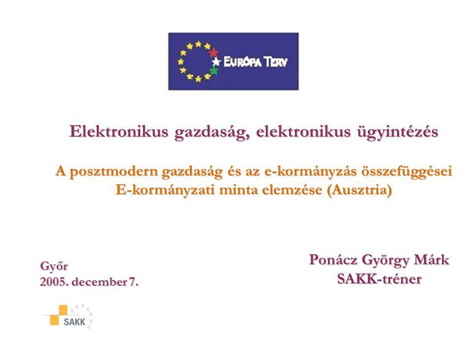Elektronikus gazdaság, elektronikus ügyintézés A posztmodern gazdaság és az e-kormányzás összefüggései E-kormányzati minta elemzése (Ausztria) Győr 2005.