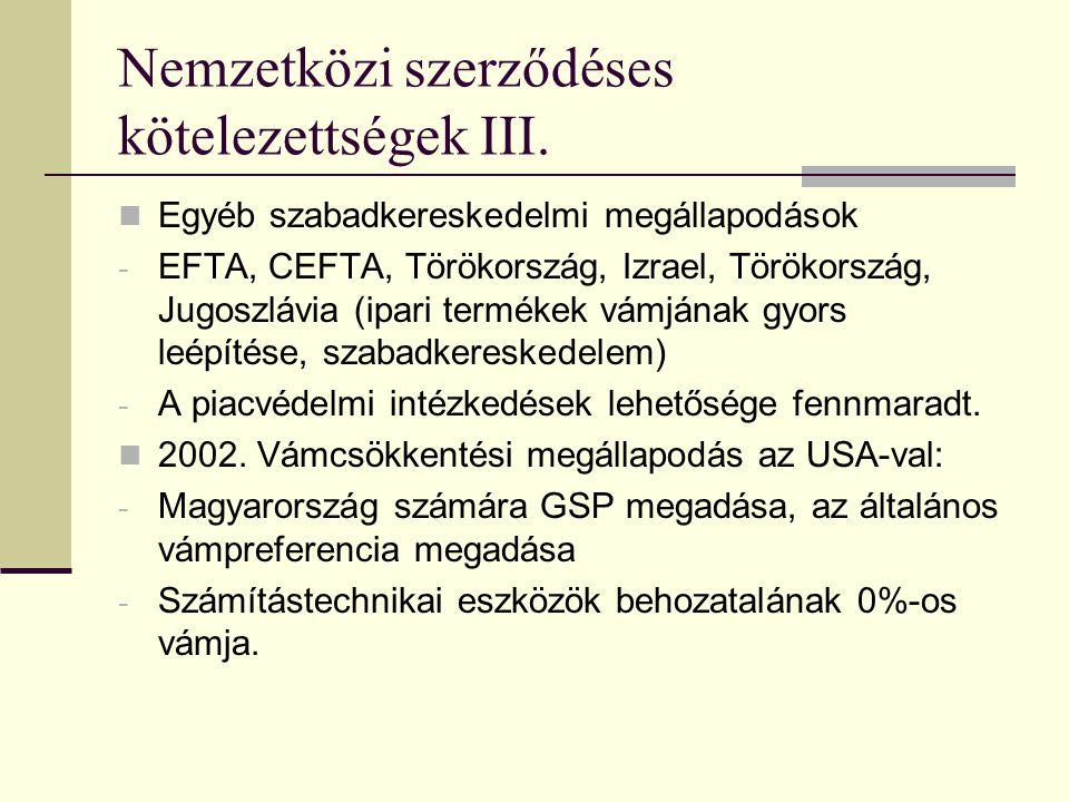 Nemzetközi szerződéses kötelezettségek II. Európai Megállapodás - szabadkereskedelmi és - integrációs jellegű kötelezettségvállalások. Pán-európai szá